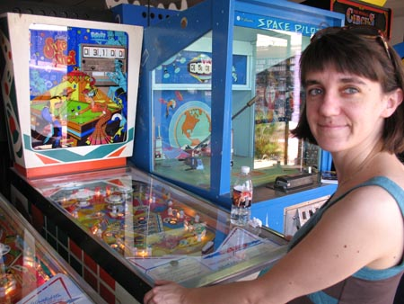 Rene Playing Pinball