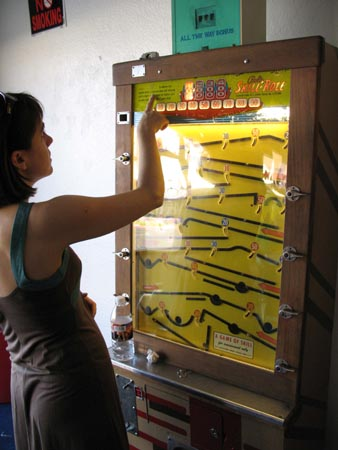 Rene Plays an Old Time Arcade Game